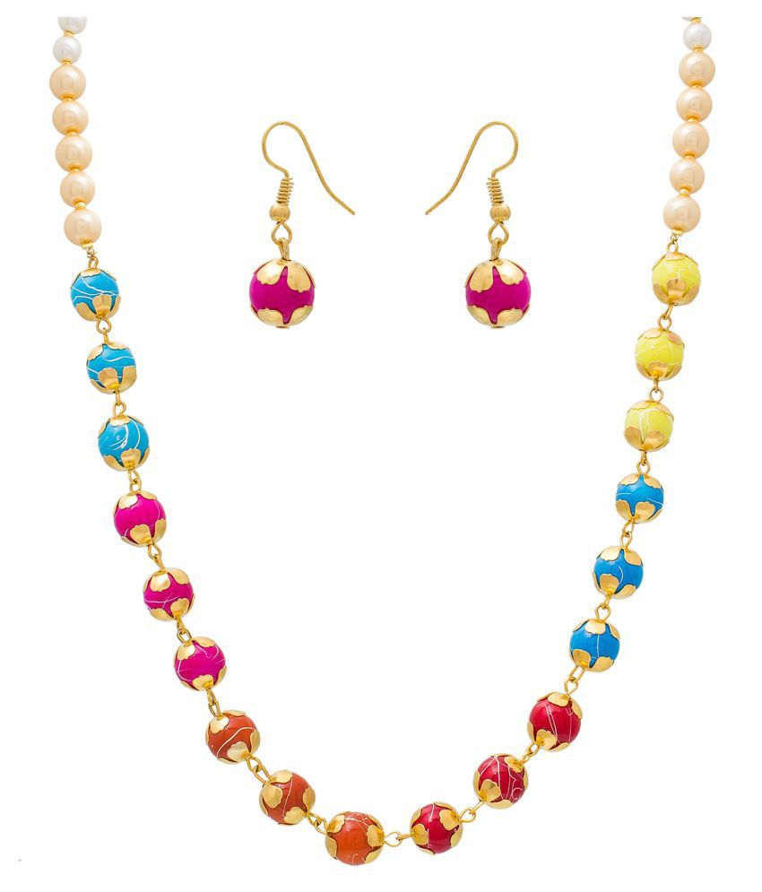 Aadita Traditional Gold Plated Necklace Set with Earrings for Women