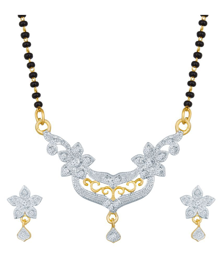 Aadita Tradtional Gold Plated American Diamond Mangalsutra and Earrings for Women