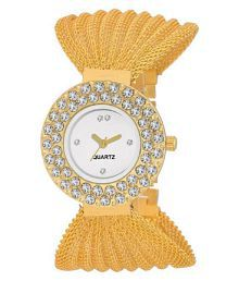 Klassy Collection Fancy Diomond Golden Analog Watch - For Girls