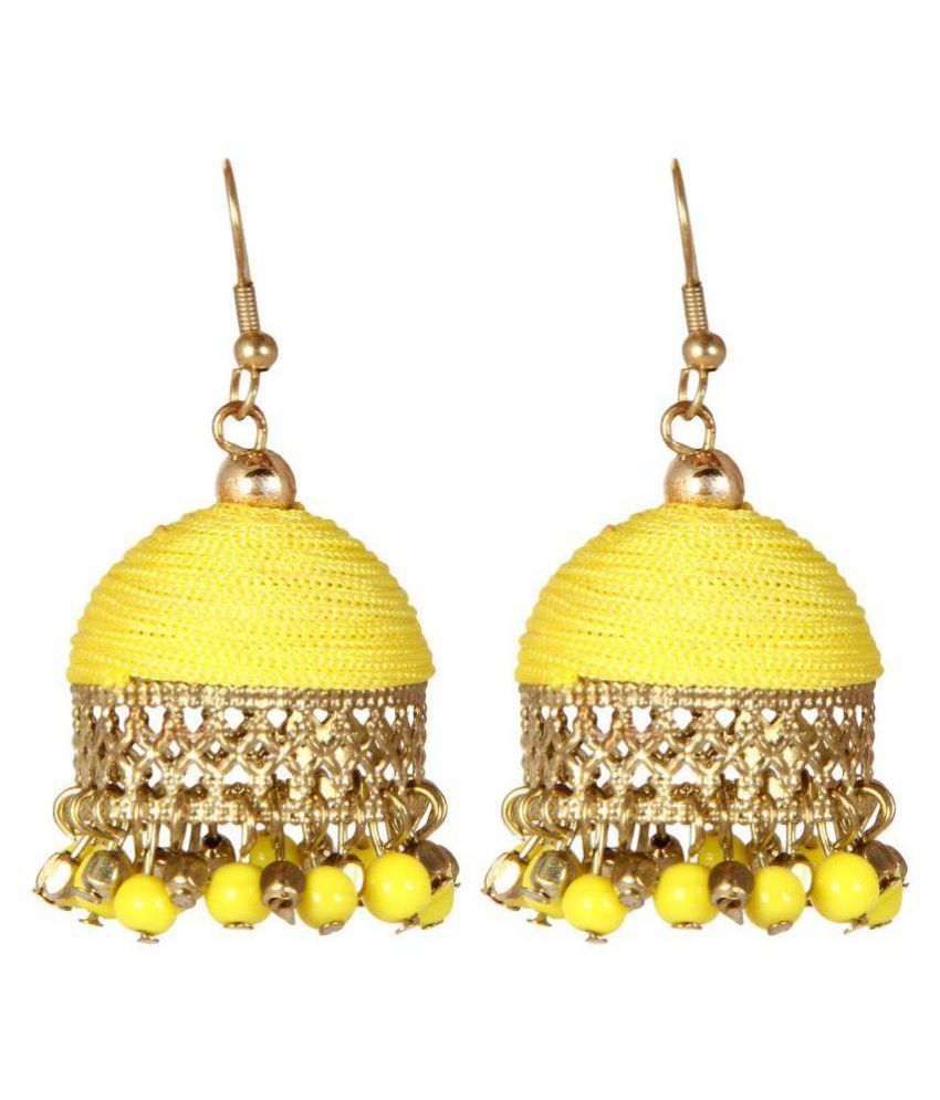 Adoreva Jhumki Yellow Gold Plated Silk Thread Bollywood Fashion Extremely Light Weight for Girls and Women
