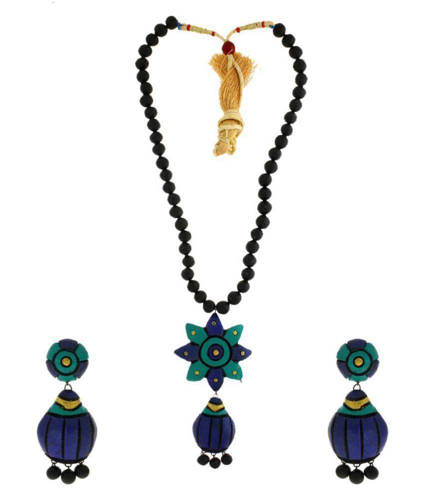 Anuradha Art Blue-Black Colour Wonderful Classy Handcrafted Terracotta Necklace Set For Women/Girls