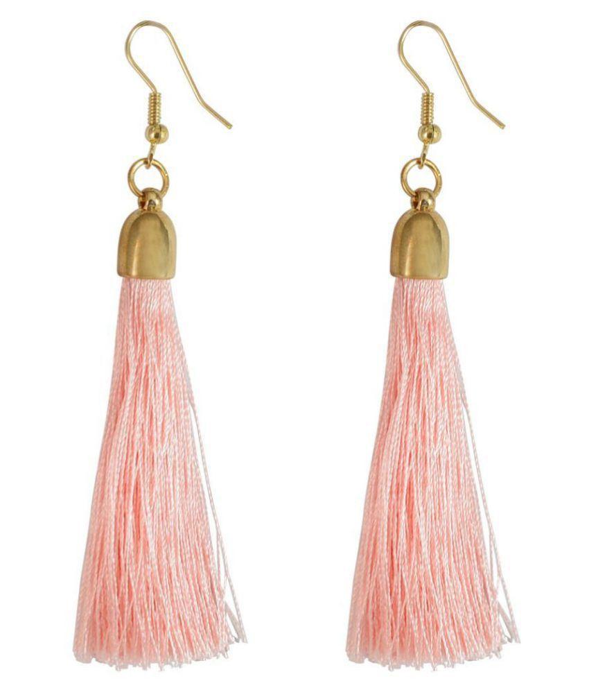 I Jewels Tribal Fringe Rope Tassel Earrings for Women (E2553Pi)