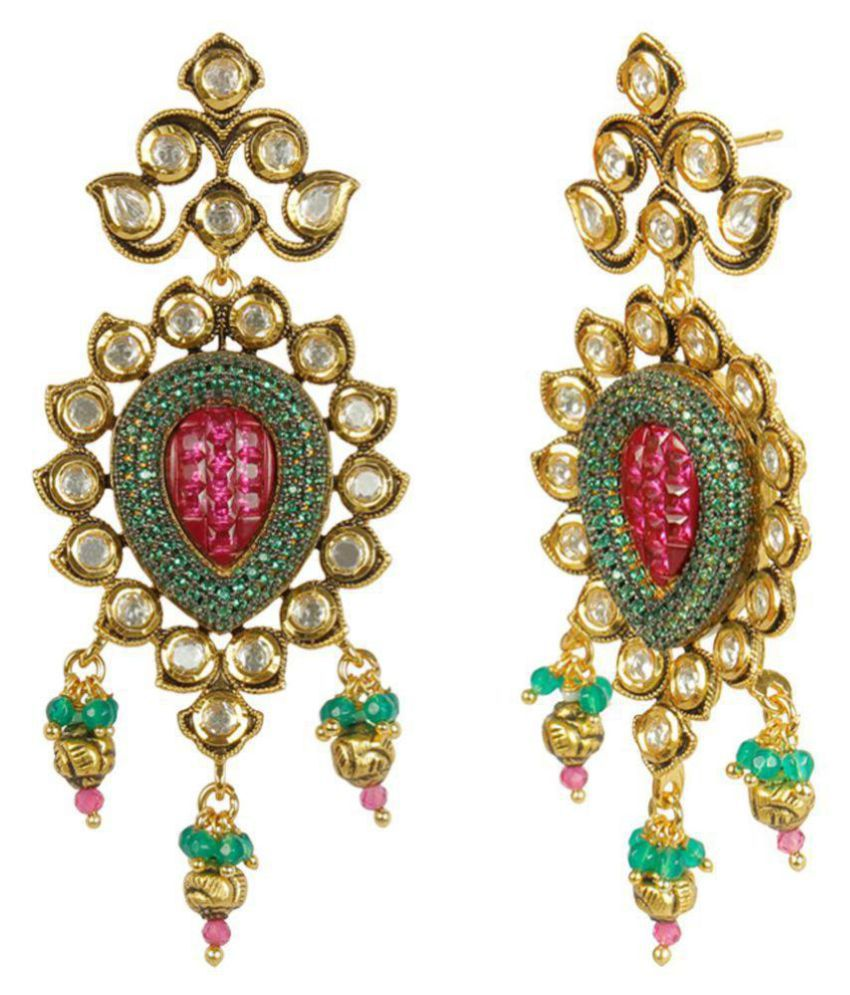 MUCH MORE Gorgeous Charm Look Multi Color Kundan Earrings for Women
