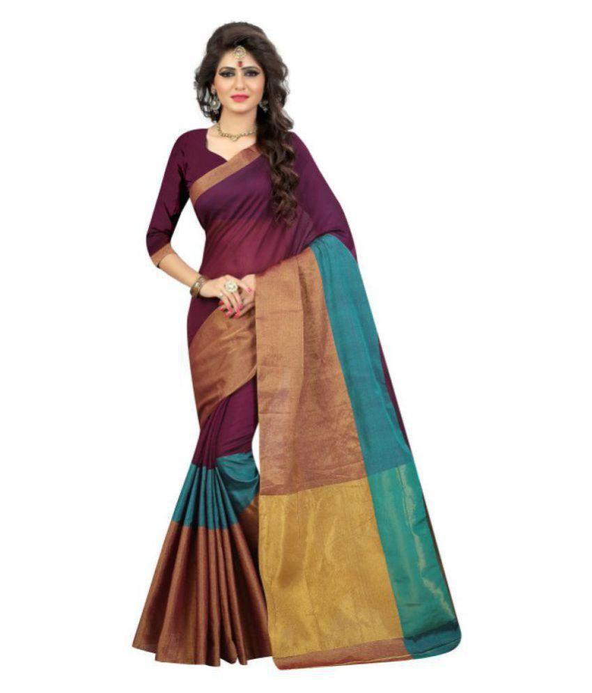 Sukhvilas Fashion Brown Cotton Saree