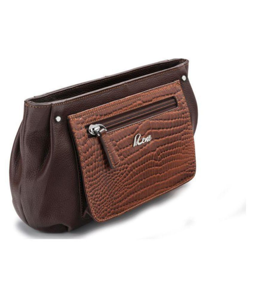 62938805400f6 Buy Rene Brown Pure Leather Box Clutch at Best Prices in India - Snapdeal