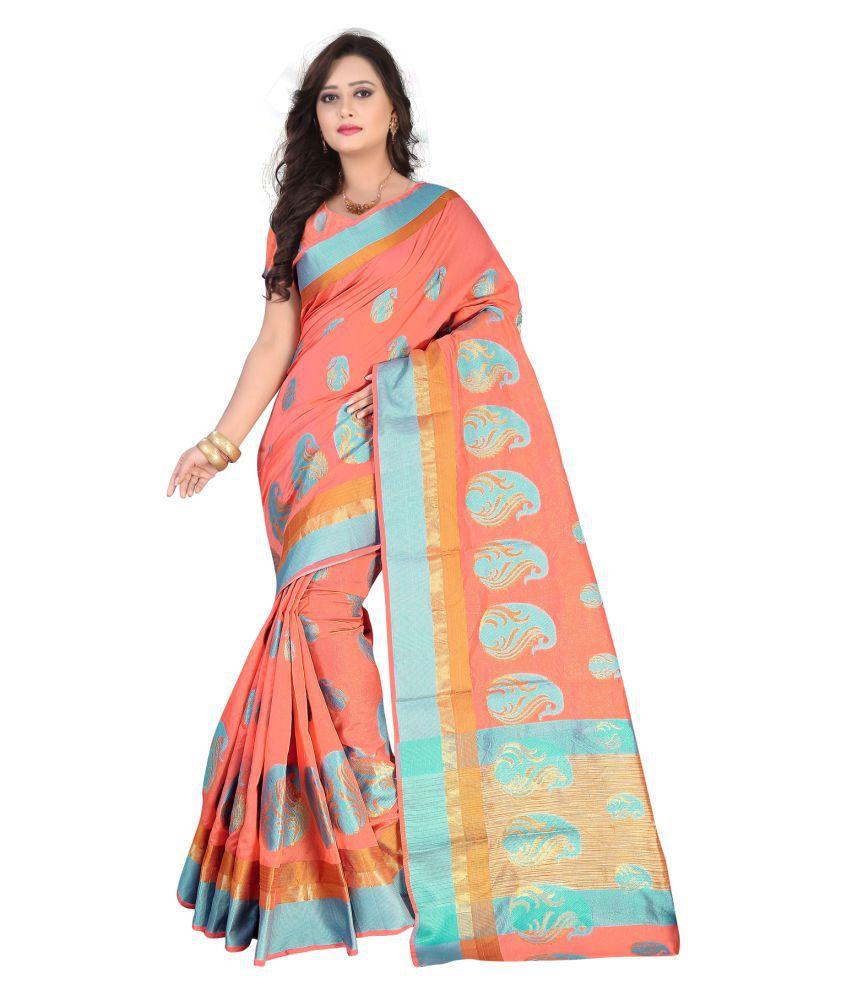 Saloni Designer Peach Banarasi Silk Saree