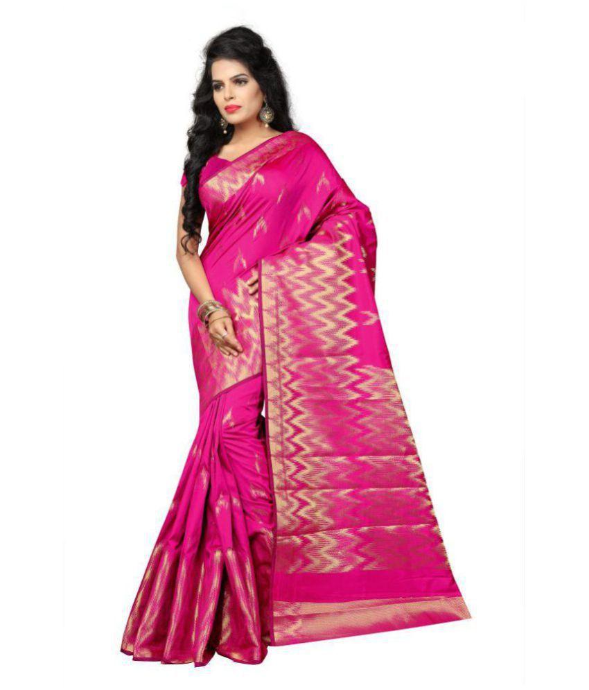 manvaa Pink Banarasi Silk Saree