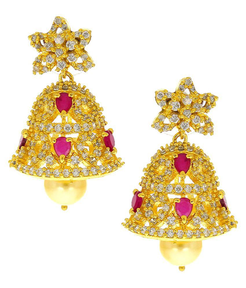 Anuradha Art Golden Colour Studded Pink Colour American Diamonds Stone Traditional Jhumki/Jhumkas Earrings For Women/Girls