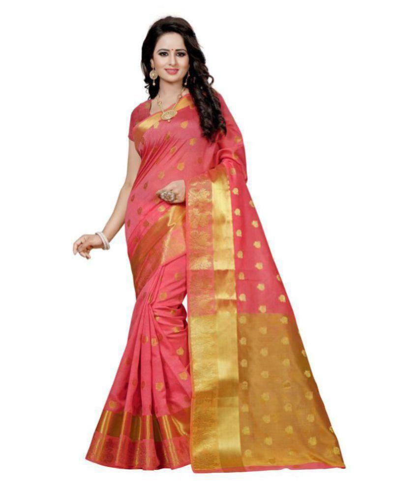 Edeal Online Peach Cotton Silk Saree