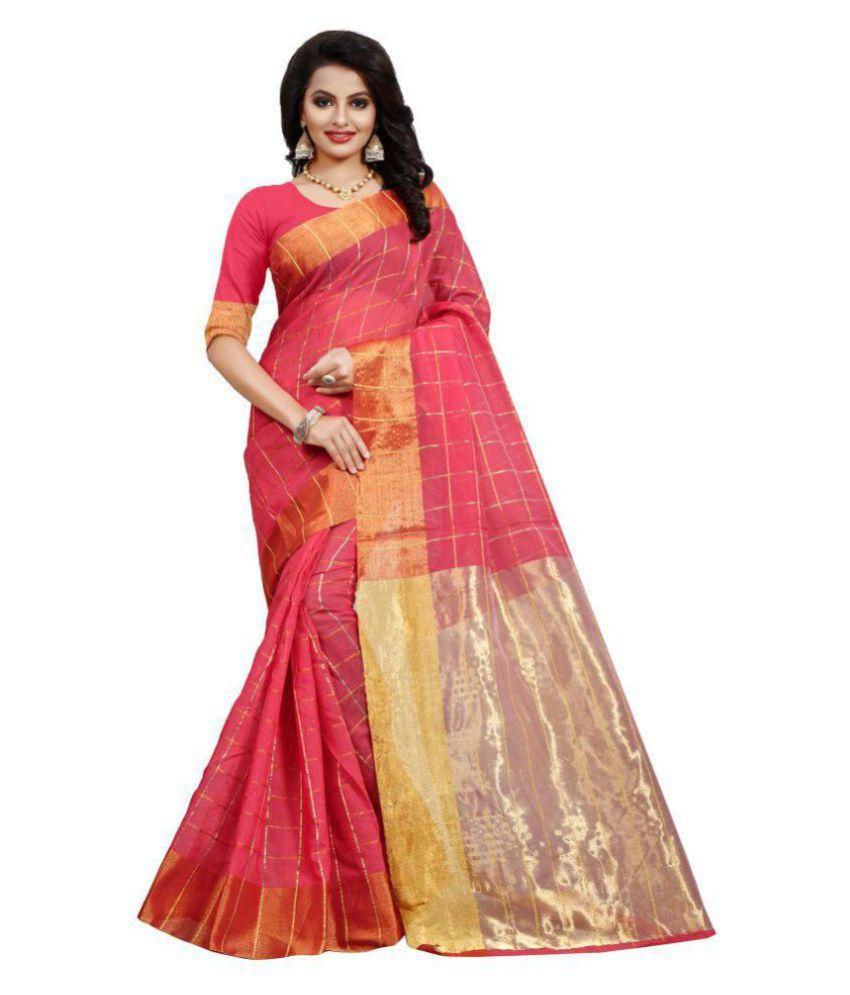 Pari Designer Red Cotton Silk Saree