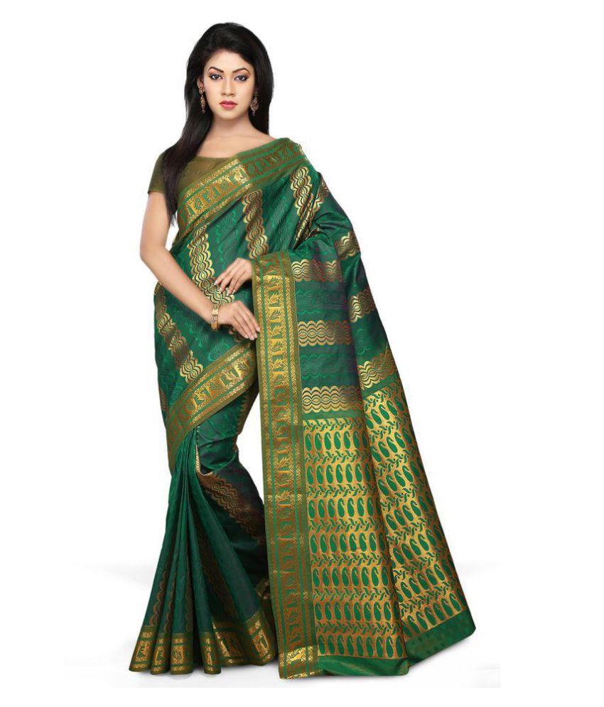 Platinum Green and Brown Art Silk Saree