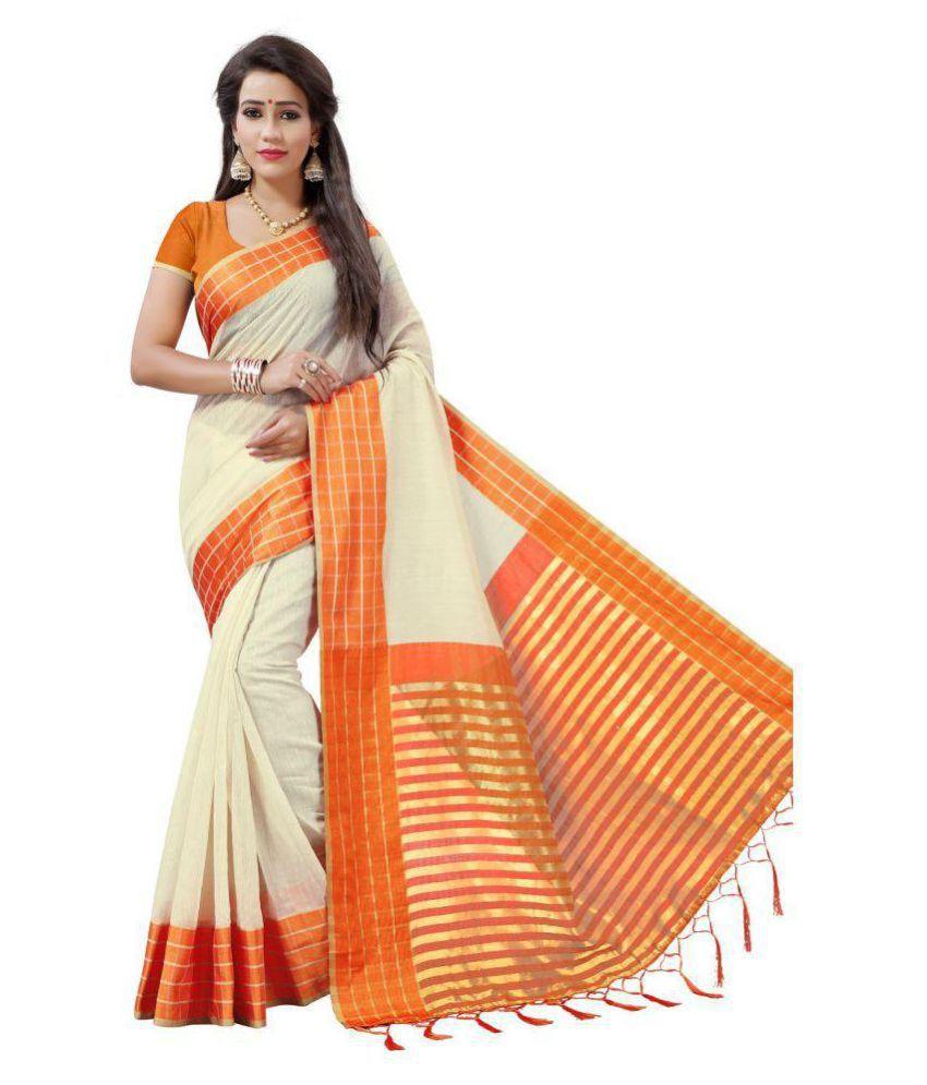 shagun trends Orange Cotton Saree