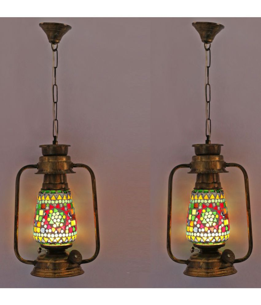 Afast Antique Lantern Lamp With Colorful Glass Perfect Match Of Trading And Traditional -A14 Hanging Lanterns 61 - Pack of 2