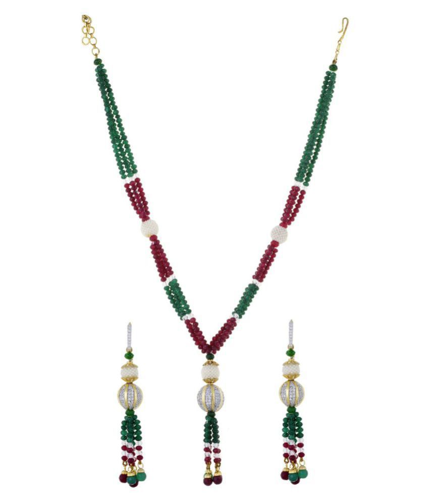 Chaahat Fashion Jewellery Red Green Multi Strand Moti Mala with mathing earring for Women and Girls