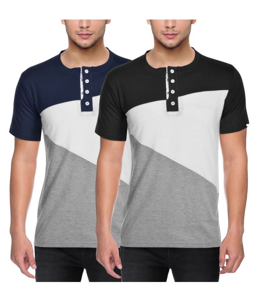 FIT-7 Multi Henley T-Shirt Pack of 2