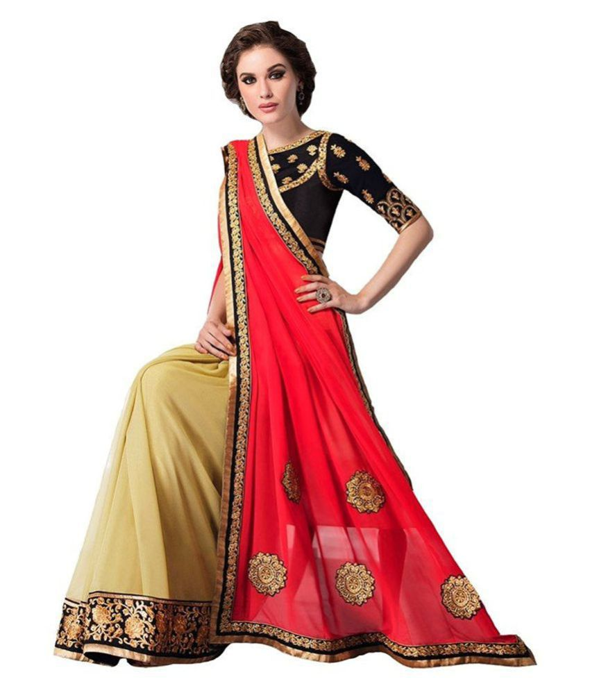 IndoPrimo Red Georgette Saree