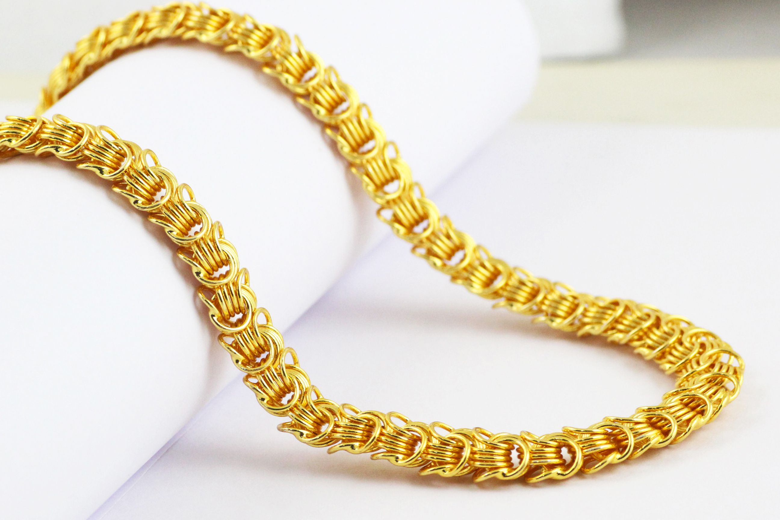 yellow gold link singapore chain itm ebay chains necklace