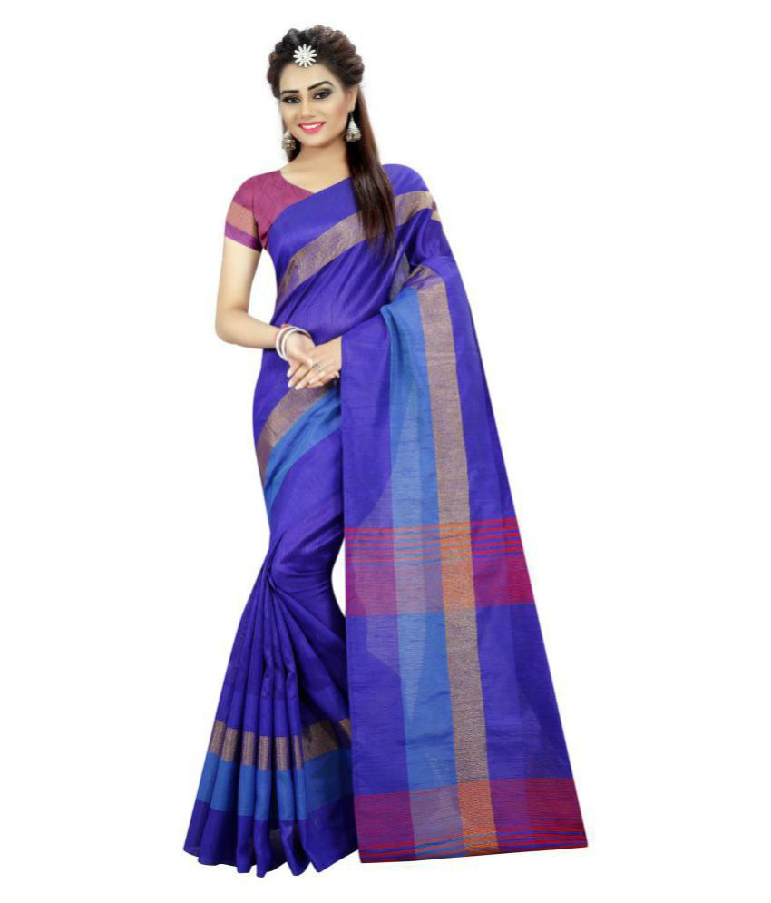 Mastani Blue Cotton Silk Saree