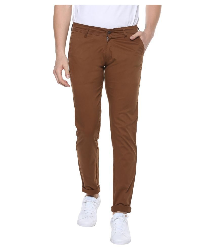 Urbano Fashion Brown Slim -Fit Flat Chinos