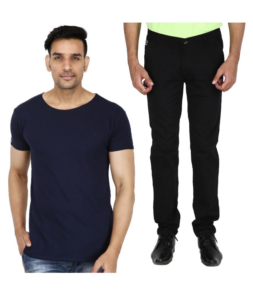 Stallion cotton Clothing Black Regular -Fit Flat Chinos