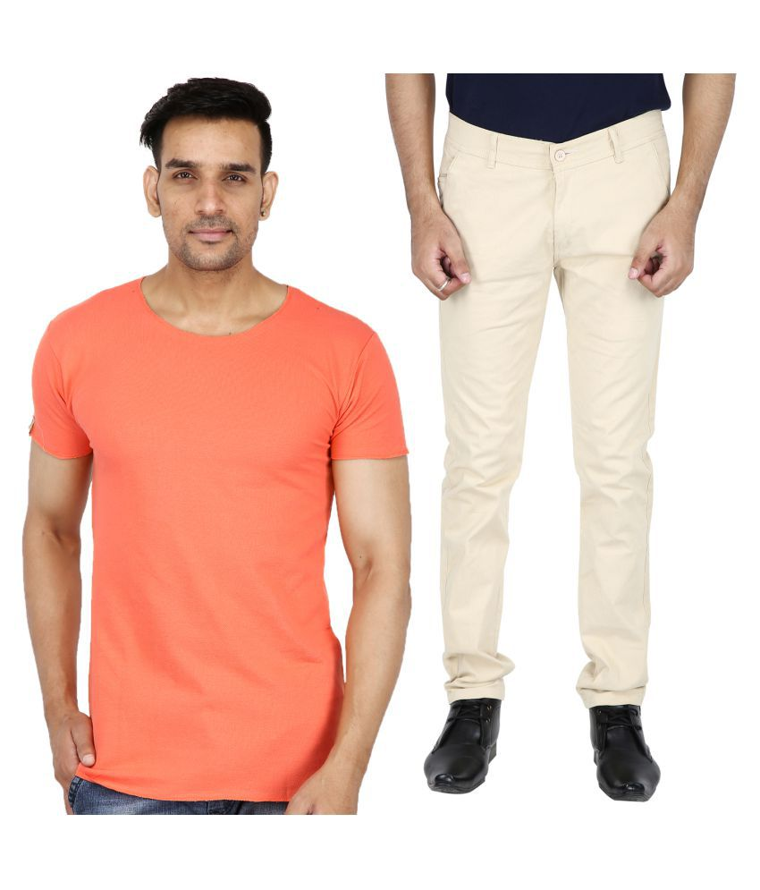 Stallion cotton Clothing Off White Regular -Fit Flat Chinos