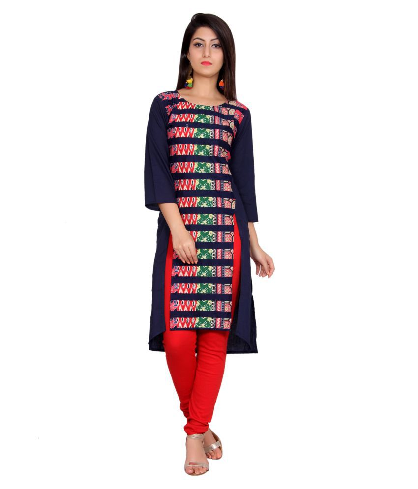 Anchy Blue Cotton Straight Kurti