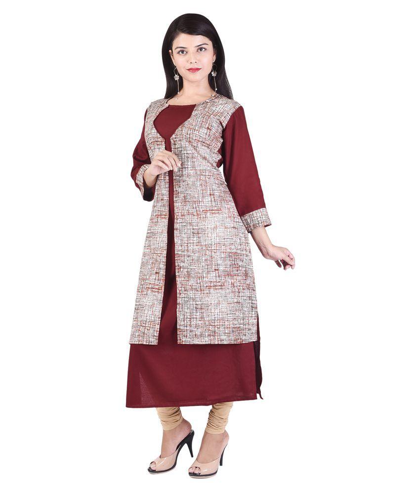 INDIAeCRAFT Multicoloured Rayon Straight Kurti