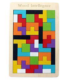 Wooden Tetris Jigsaw Puzzle 40 pcs - (WNTb081) - Brain Teasers Toy Building Blocks