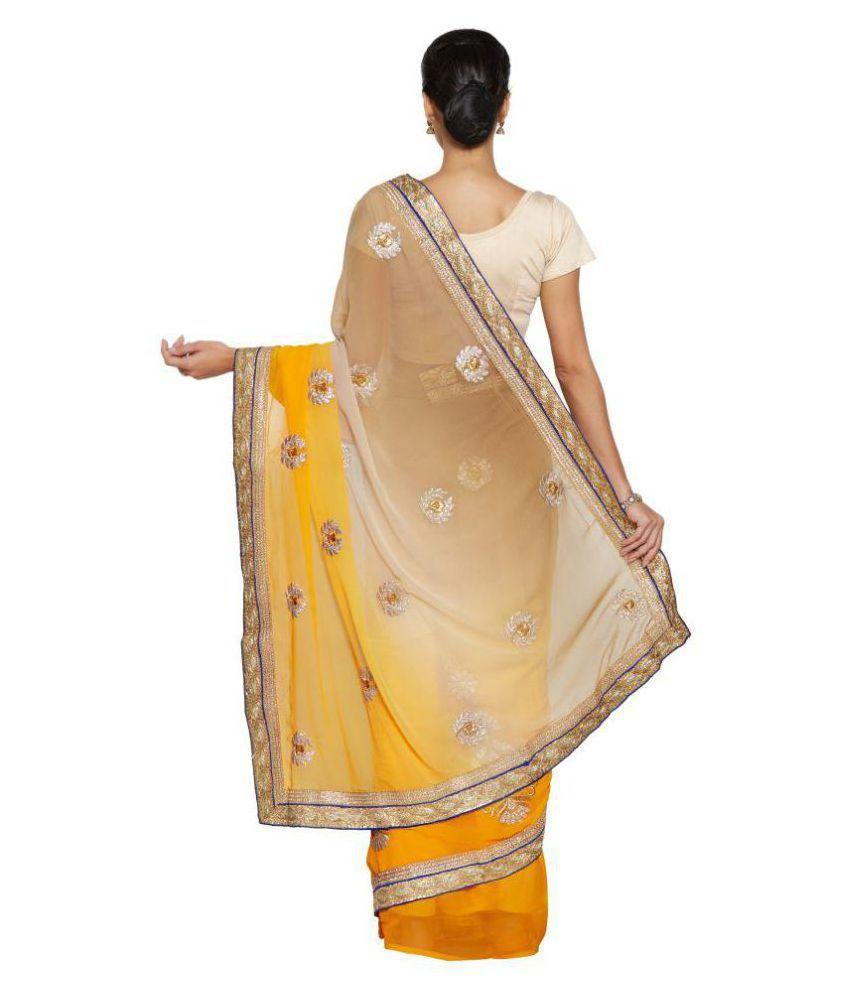 Vkaran Yellow Chiffon Saree