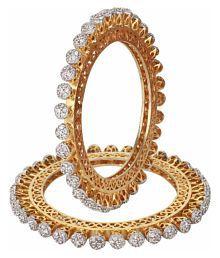 Ratnavali jewels Beautiful CZ/AD Studded Gold Plated Traditional American Diamond Bangles Set Kada Pacheli for Women RV1842