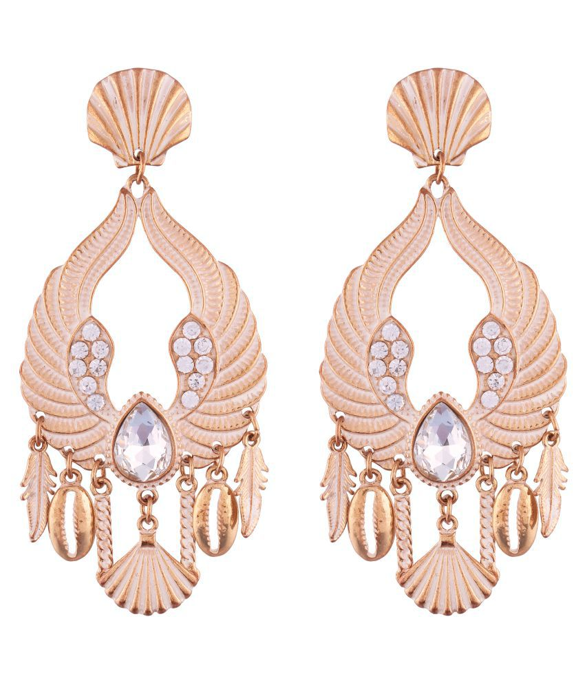 Jazz Fancy Collection Stylish Designer Gold Plated White Crystal Stone Dangler Drop Earrings Jewellery for Girls