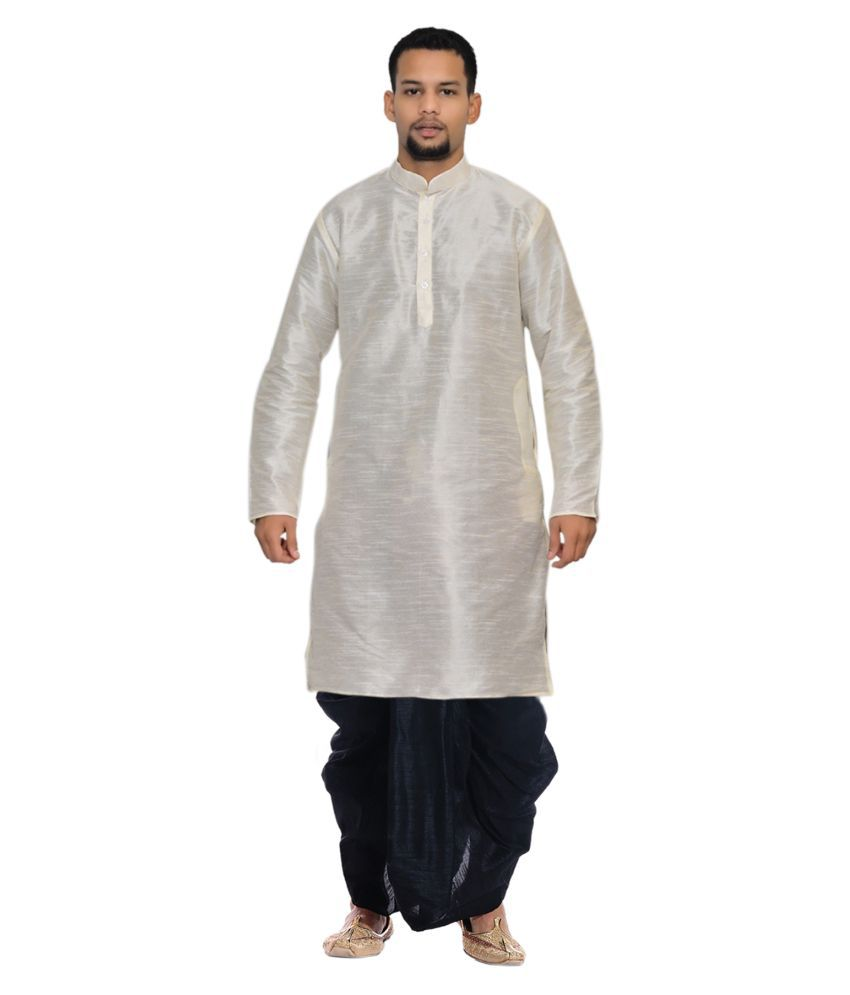 eebc7214c AMG Off-White Silk Dhoti Kurta Set Pack of 2 - Buy AMG Off-White Silk Dhoti  Kurta Set Pack of 2 Online at Low Price in India - Snapdeal