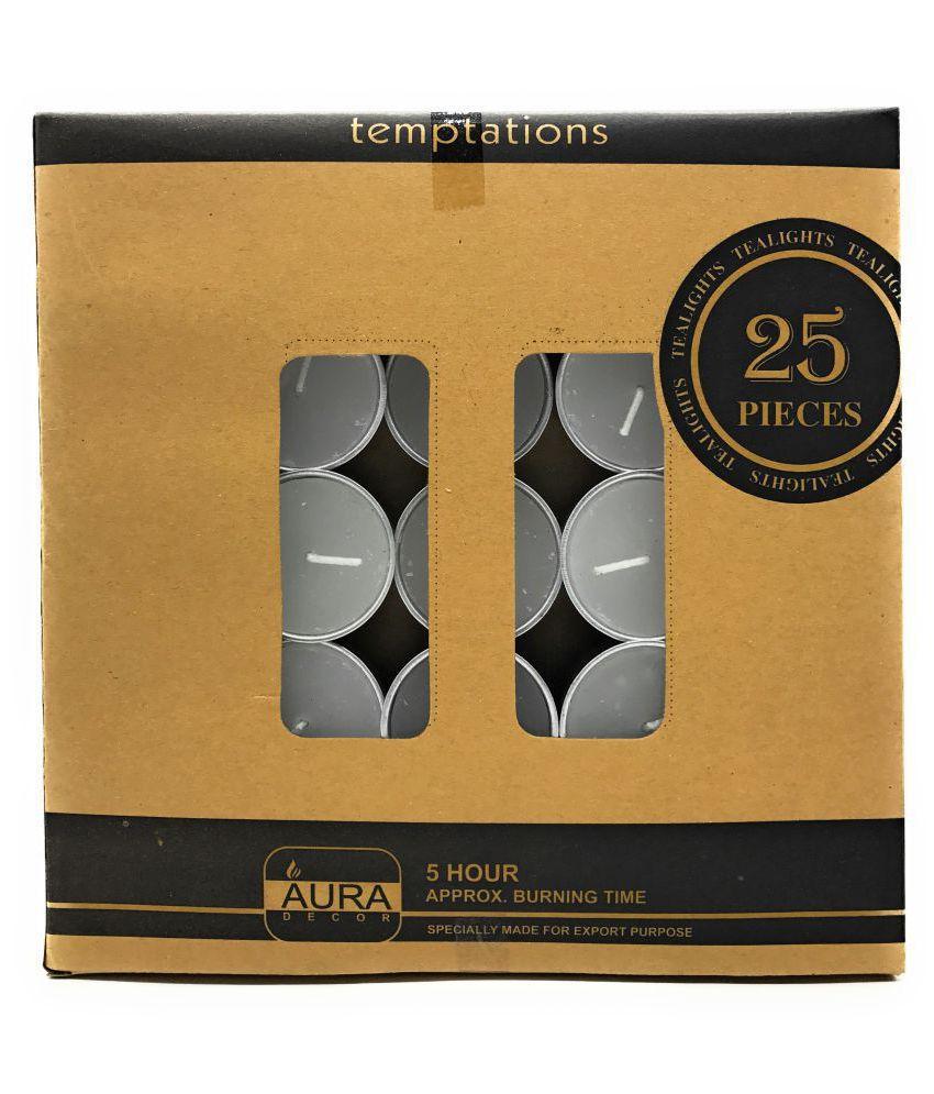 TRASS White Wax Tea Light - Pack of 25