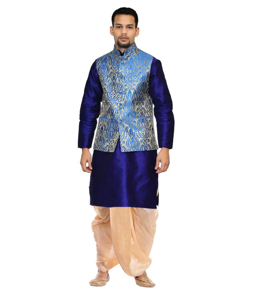 AMG Blue Silk Dhoti Kurta Set Pack of 2