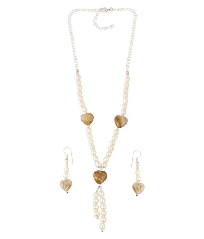 Heart-shaped Fossil Coral stones and White Freshwater Pearl Necklace Set