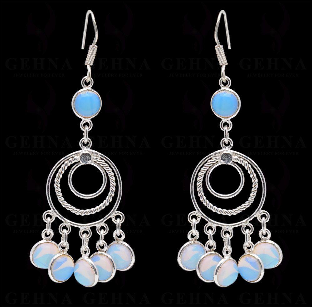 Blue Chalcedony Gemstone Studded Earring In Bezel Setting In.925 Silver