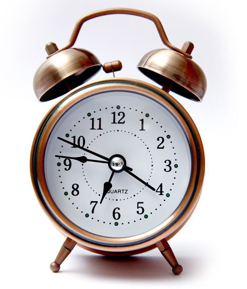 E-DEAL Analog Vintage Twin Bell copper Table Alarm Clock ...