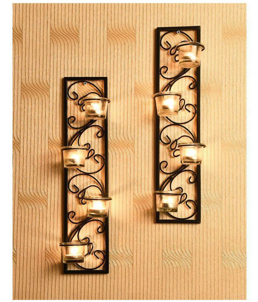 Hosley Set of 2 Decorative Black Metal Wall Sconce - Pack of 2: Buy ...