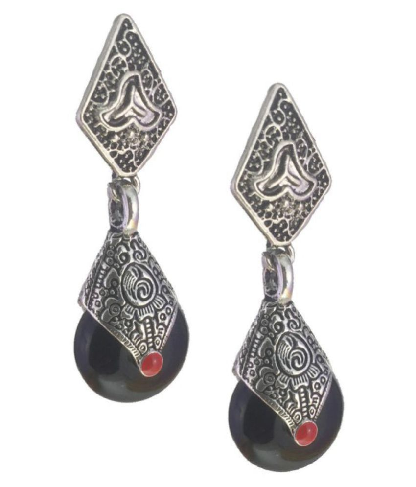 My Design Antique Silver Plated Black Beads Drop Earrings