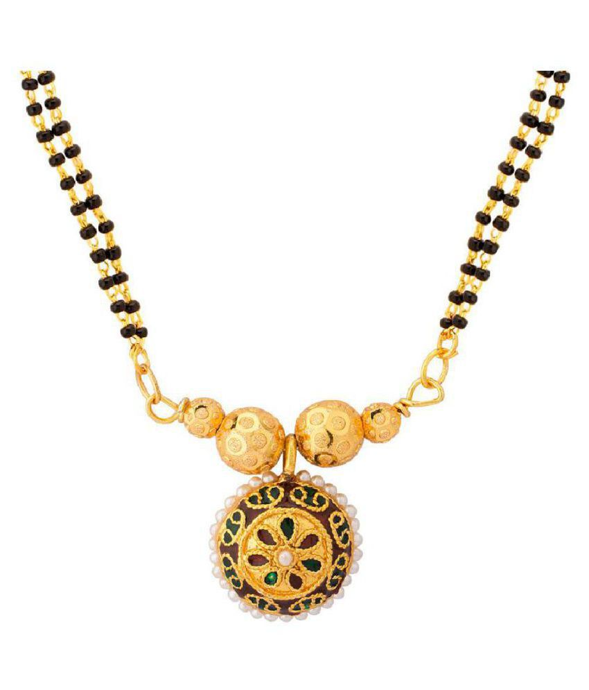 Voylla Pearl Studded Mangalsutra with Enamel Work for Women