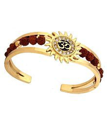 Chandrika Pearls Gems & Jewellers Rudraksh American Diamond Gold Meena Om Sun Cuff Kada Bracelet for Men
