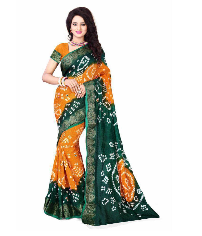 HashTag Fashion Green Art Silk Saree