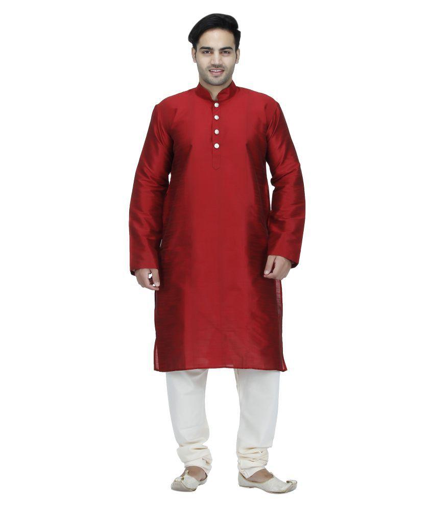 Bhartiya Red Silk Blend Kurta Pyjama Set