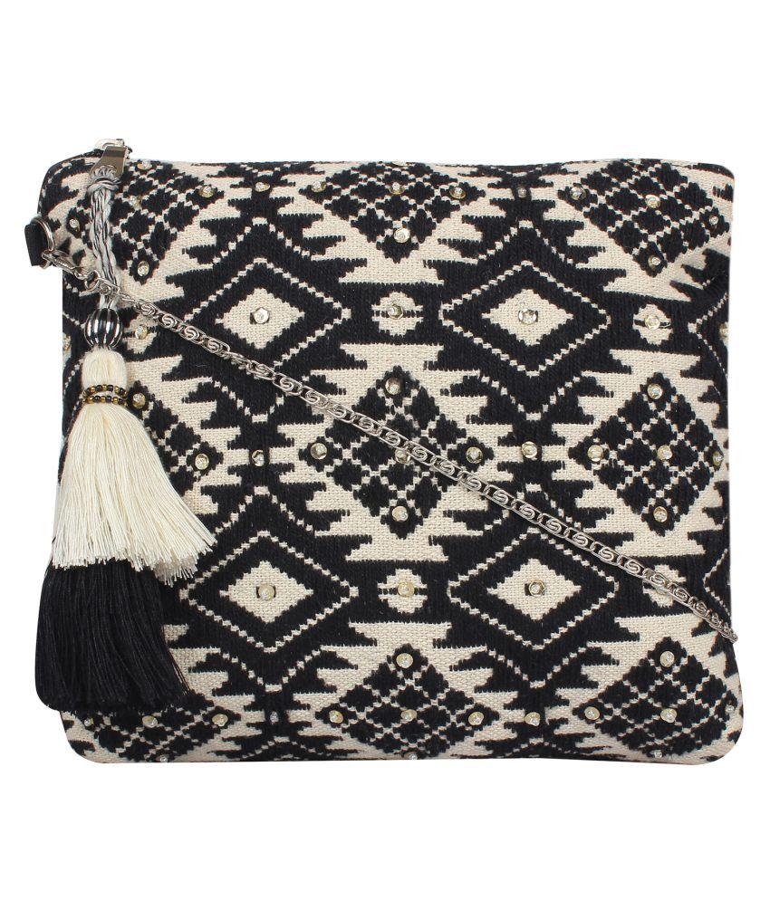 Anekaant Black Cotton Sling Bag