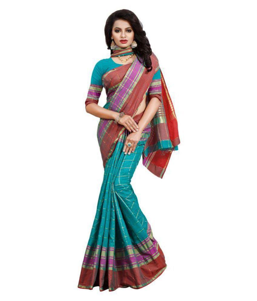 Swastik Art Multicoloured Cotton Silk Saree