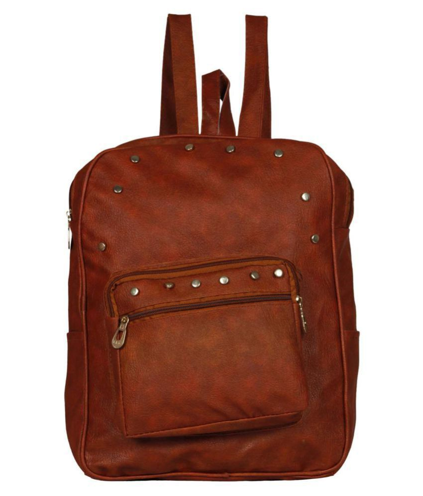 MAEVA Maroon Faux Leather Backpack