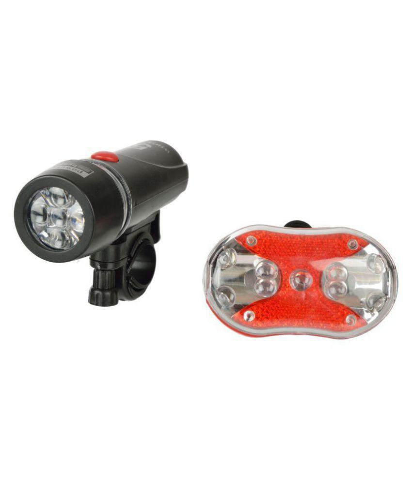 DarkHorse  Imported CE Standard Bicycle 9 LED 2 Mode Front Light & 9 LED 7 Mode Rear Light Combo, Black & Red
