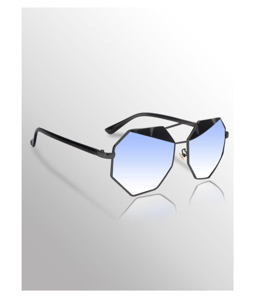 Hupshy Blue Round Sunglasses ( Octagonal Shape Premium High Quality )