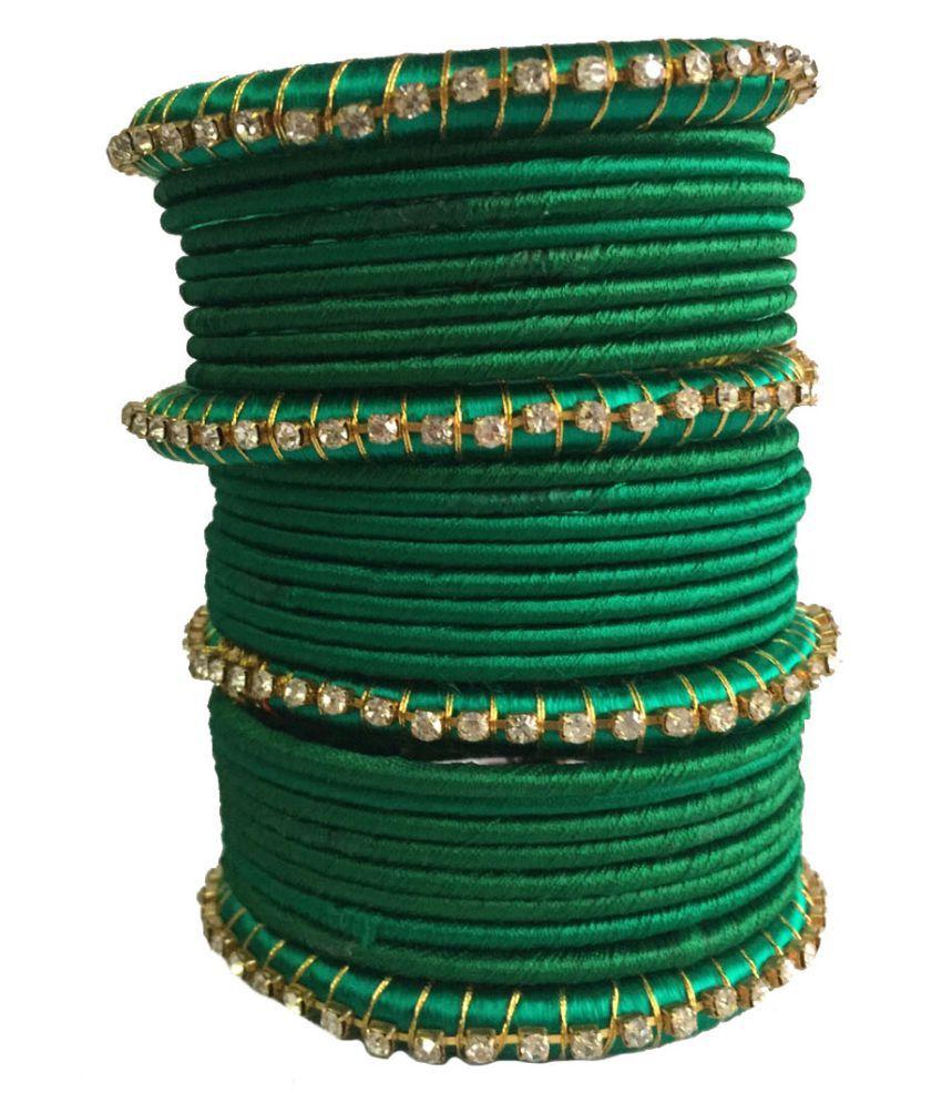 Nikush Handmade Beautiful Silk Dori Bangle Set