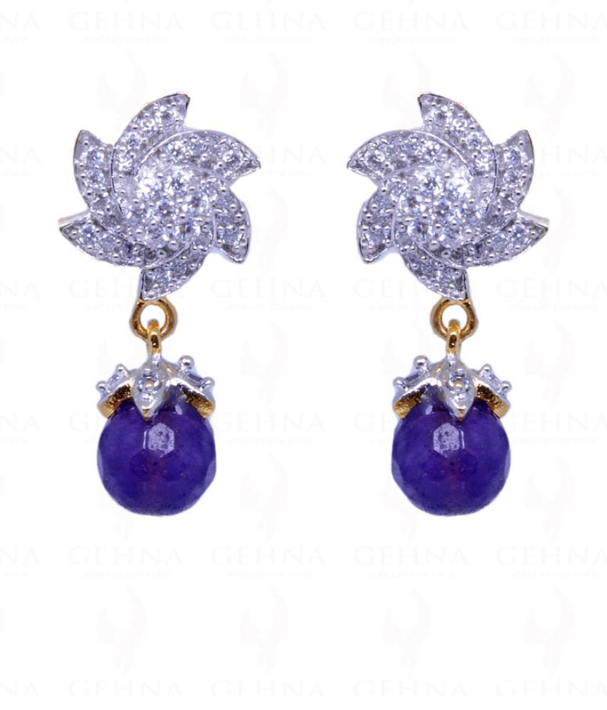 Amethyst Color Round Ball Studded Earrings